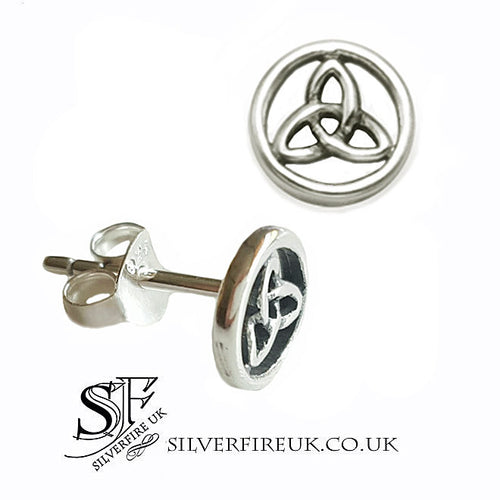 Trinity In Circle Stud Earrings, Celtic Trinity Jewellery