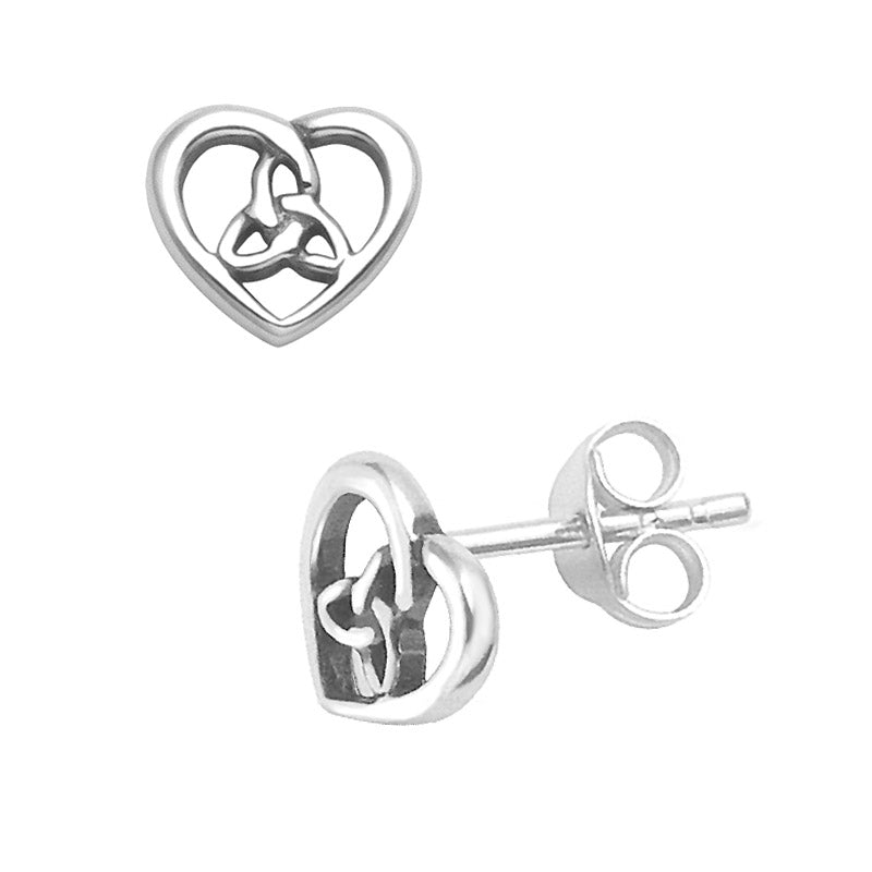 trinity heart stud earrings