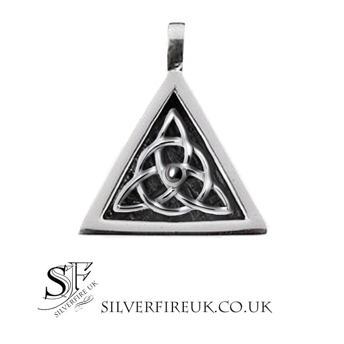 Mens Celtic Necklace Trinity Triangle