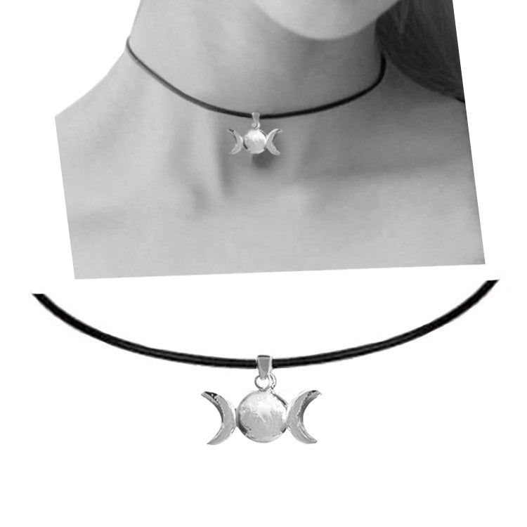 triple moon leather choker