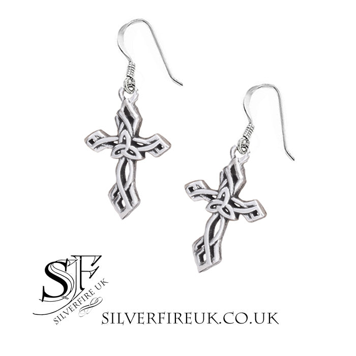 Triquetra Celtic Cross Earrings