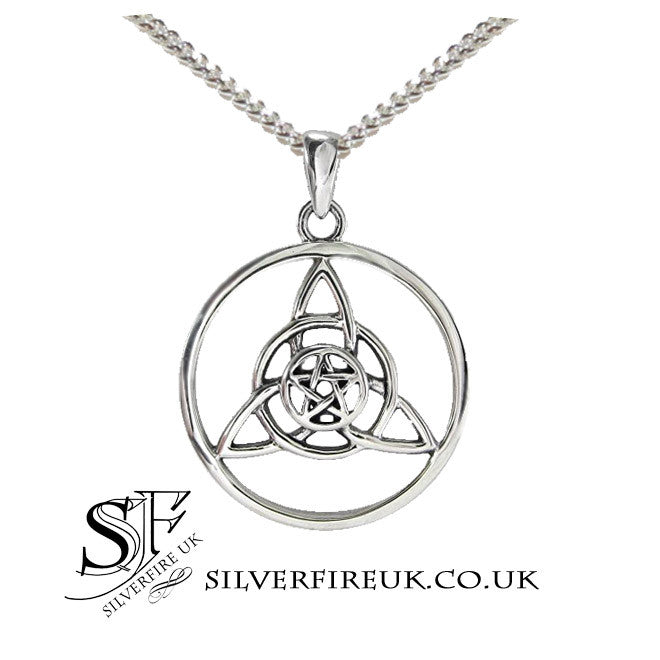 Triquetra Necklace with pentagram pentacle