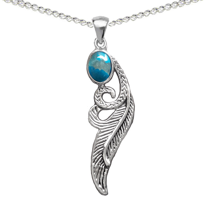 Feather Necklace With Turquoise