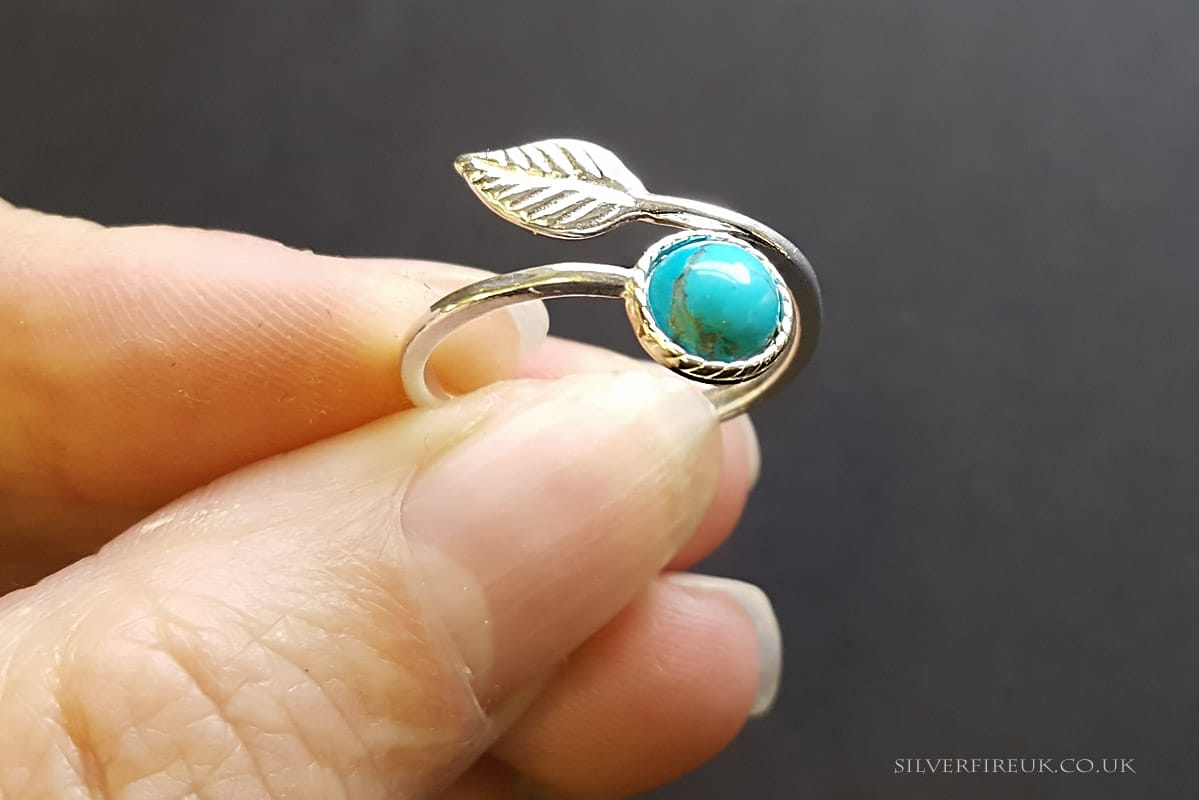 Feather Ring with Turquoise, Adjustable