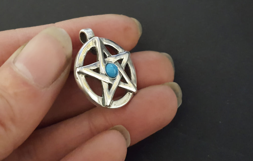 pagan necklace turquoise pentagram