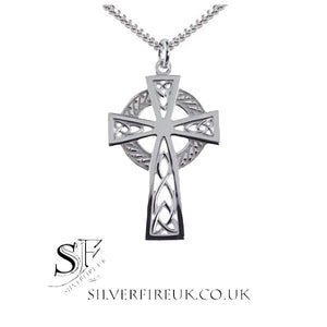 celtic cross necklace white gold