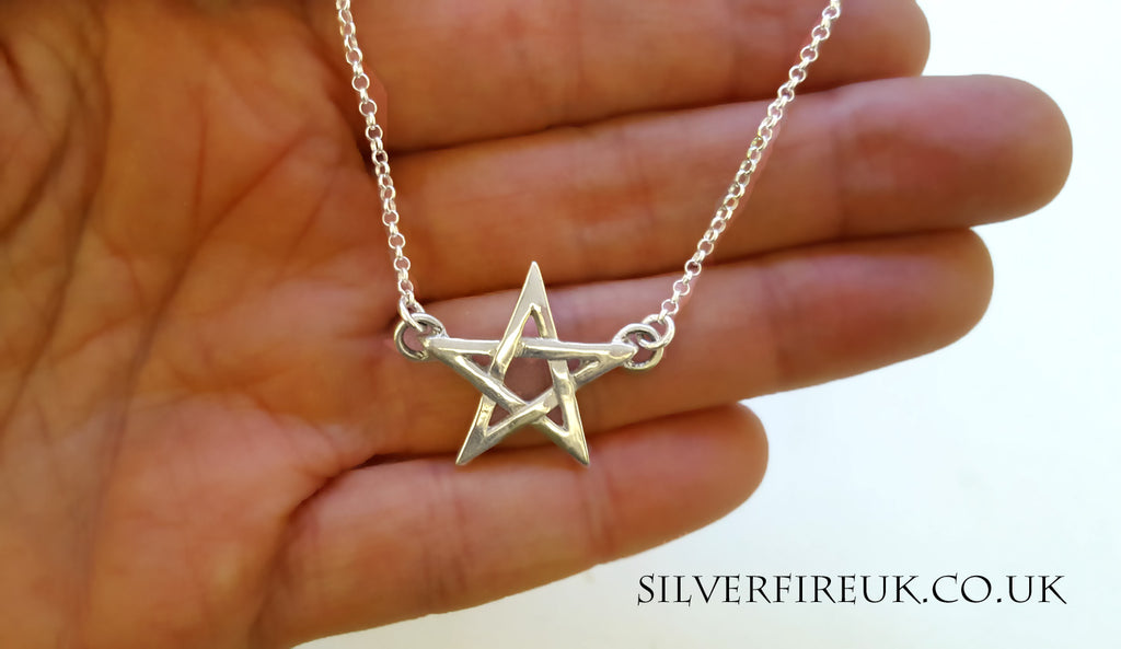 pentagram chain necklace, pagan necklace