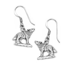 wolf dangle earrings