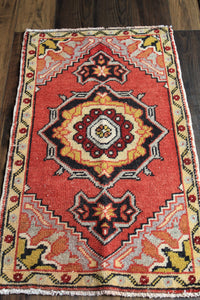 "Jane - 1'8-1/4"" x 3'2-1/2"" Vintage Turkish Oushak Rug"