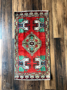 Ibi - 1.5' x 3' Vintage Turkish Small Rug