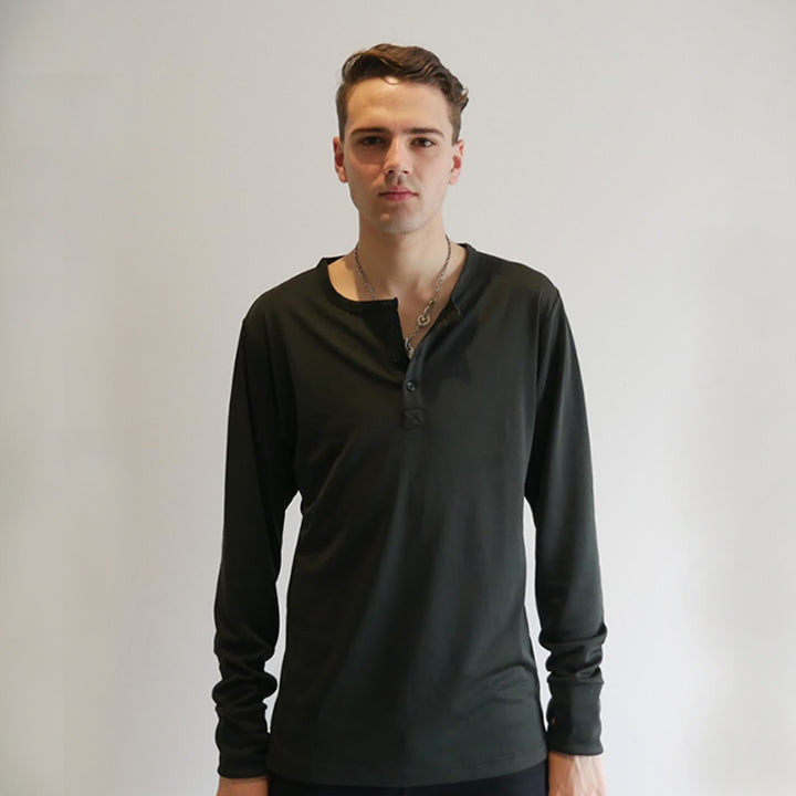 Dumont - Black Long Sleeve Henley - Threadsmiths