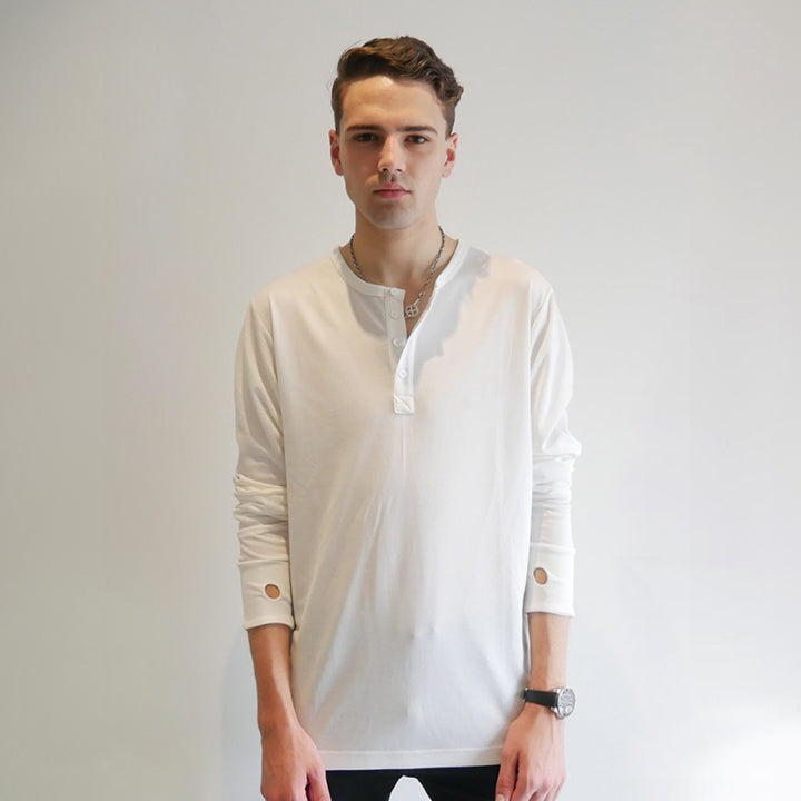 Dumont - White Long Sleeve Henley - Threadsmiths