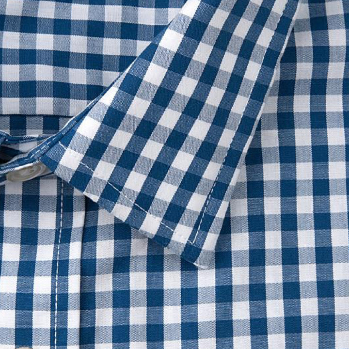 Grind - Men's Blue Gingham Dress Shirt - Threadsmiths