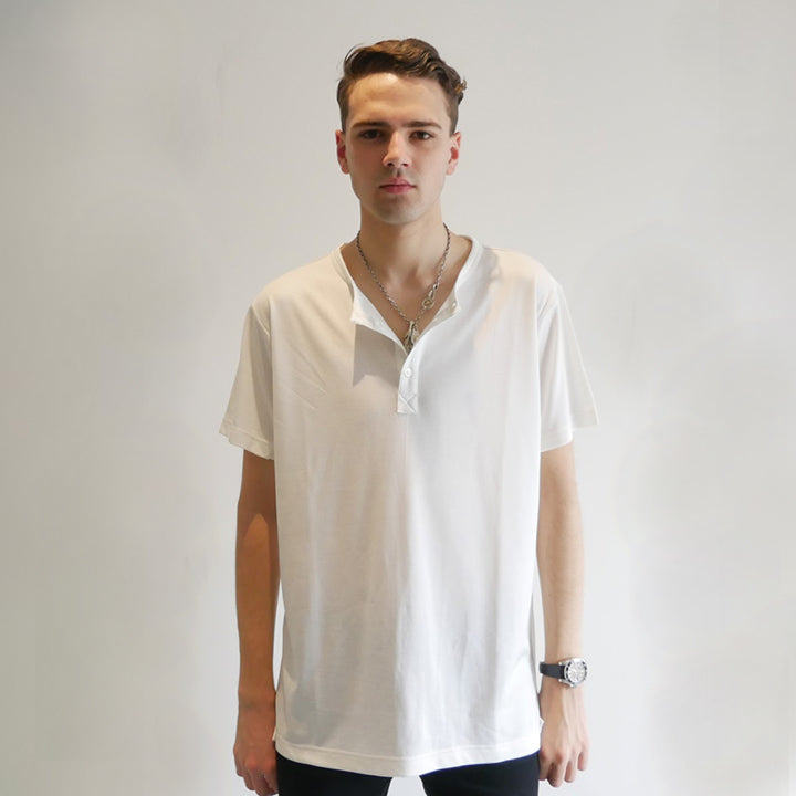 Dumont - White Short Sleeve Henley - Threadsmiths