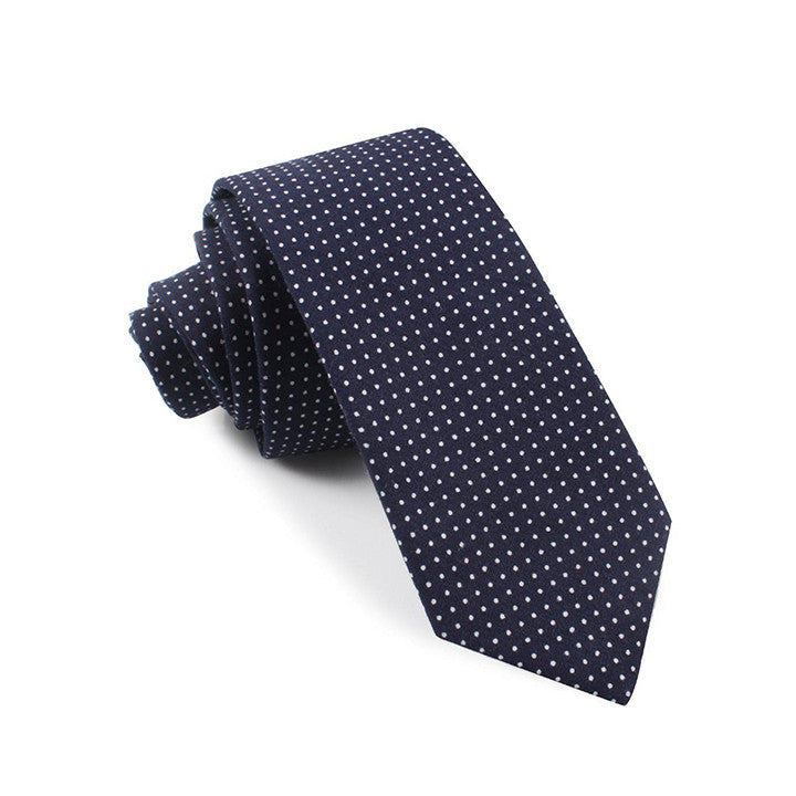 The Grind - Navy Blue Skinny Dot Tie - Threadsmiths - 1