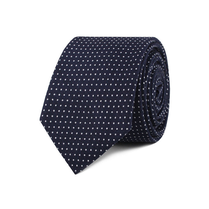 The Grind - Navy Blue Skinny Dot Tie - Threadsmiths - 2