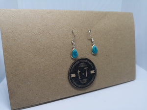 Teardrop Gemstone Silver Earring, in Turquoise, Labradorite, Amber, Rainbow Moonstone and several others