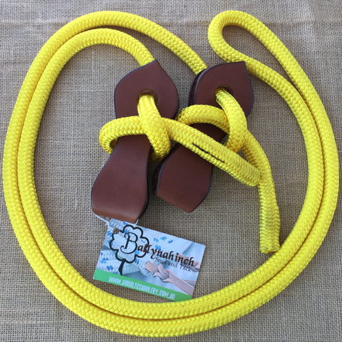 Ballynahinch Tack Rope Joined Reins with Slobber Straps - Yellow
