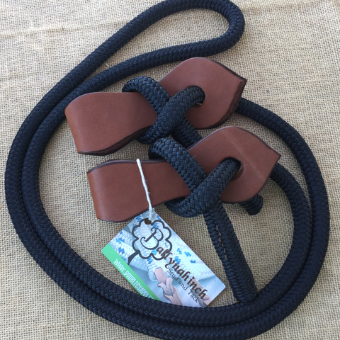 Ballynahinch Tack Rope Joined Reins with Slobber Straps -Black