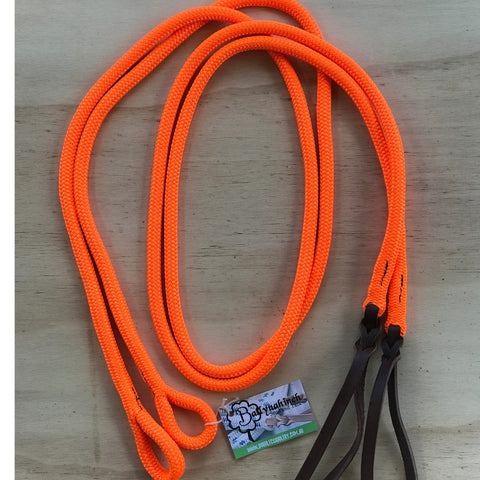 Ballynahinch Tack Rope Loop Split Reins - Fluro Orange