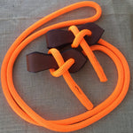 Ballynahinch Tack Joined Reins with Slobber Straps - Orange