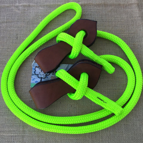 Ballynahinch Tack Rope Joined Reins with Slobber Straps - Lime Green