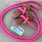Ballynahinch Tack Rope Joined Reins with Slobber Straps - Pink