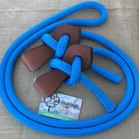Ballynahinch Tack Joined Reins with Slobber Straps - Sky Blue