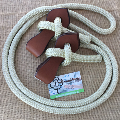 Ballynahinch Tack Rope Joined Reins with Slobber Straps - Cream