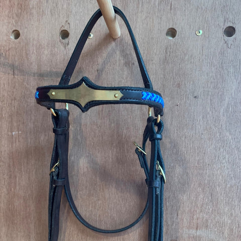 Ballynahinch Tack Diamond Braided Browband Leather Bridle
