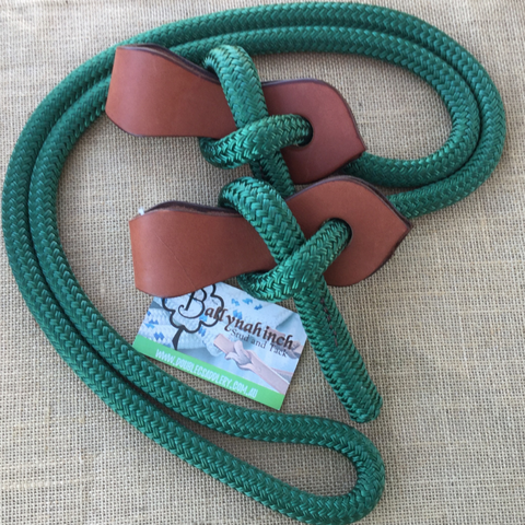 Ballynahinch Tack Rope Joined Reins with Slobber Straps - Green