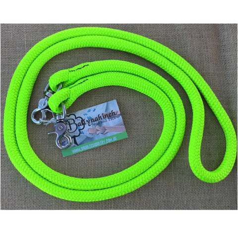 Ballynahinch Tack Rope One Reins with clips- Lime Green