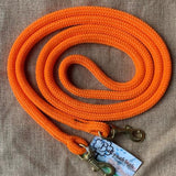 Ballynahinch Tack Rope One Reins with clips- Orange