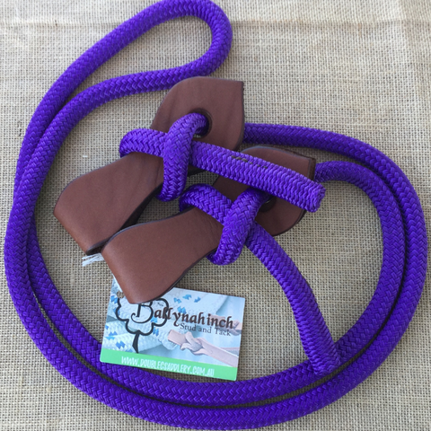 Ballynahinch Tack Rope Joined Reins with Slobber Straps - Purple