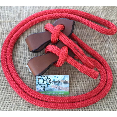 Ballynahinch Tack Rope Joined Reins with Slobber Straps - Red