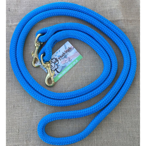Ballynahinch Tack Rope One Reins with clips- Sky Blue