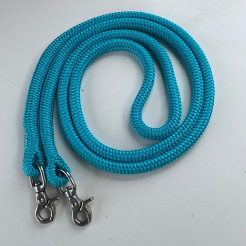 Ballynahinch Tack Rope One Reins with clips- Turquoise