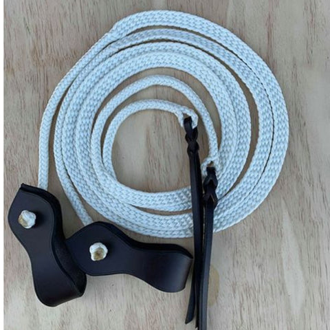 Ballynahinch Tack Rope Plaited Split Reins - White