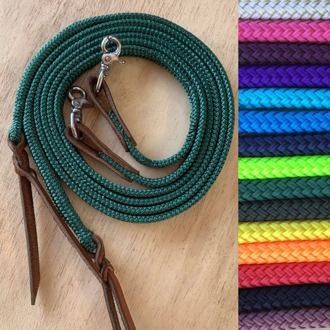 Ballynahinch Tack Rope Flat Split Campdraft Reins-Clips