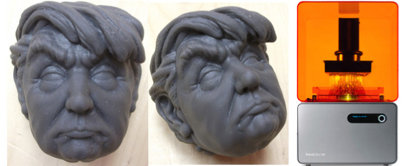 Resin 3D Print of Donald J. Trump on FormLabs 3D SLA Printer
