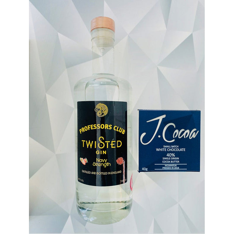 Professors Club Navy Strength Twisted Gin (70cl) with J.Coco Artisan White Chocolate (Gift-wrapped) - Afterthought Spirits Company Ltd