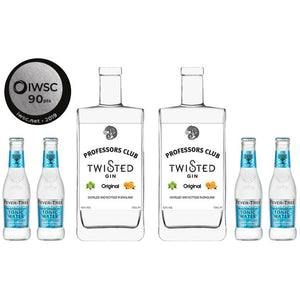 Professors Club Original Gin twin pack with tonics 70CL Lab Style Bottles