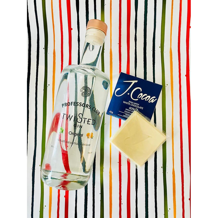 Professors Club Original Twisted Gin (70cl) with J.Coco Artisan White Chocolate (Gift-wrapped) - Afterthought Spirits Company Ltd