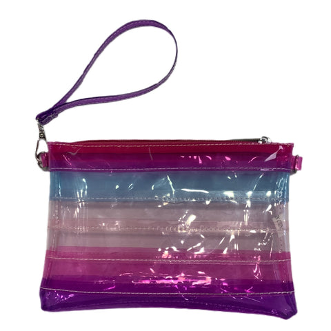 Bari Lynn - Clear Crossbody Wristlet in Pink Stripe