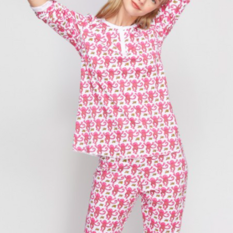 Roller Rabbt - Adult Monkey Pajamas in Pink