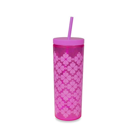 Kate Spade - Tumbler with Straw in Neon Pink