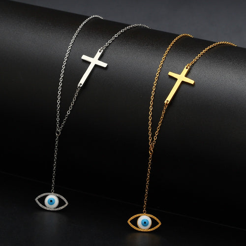 Cross evil eye necklace