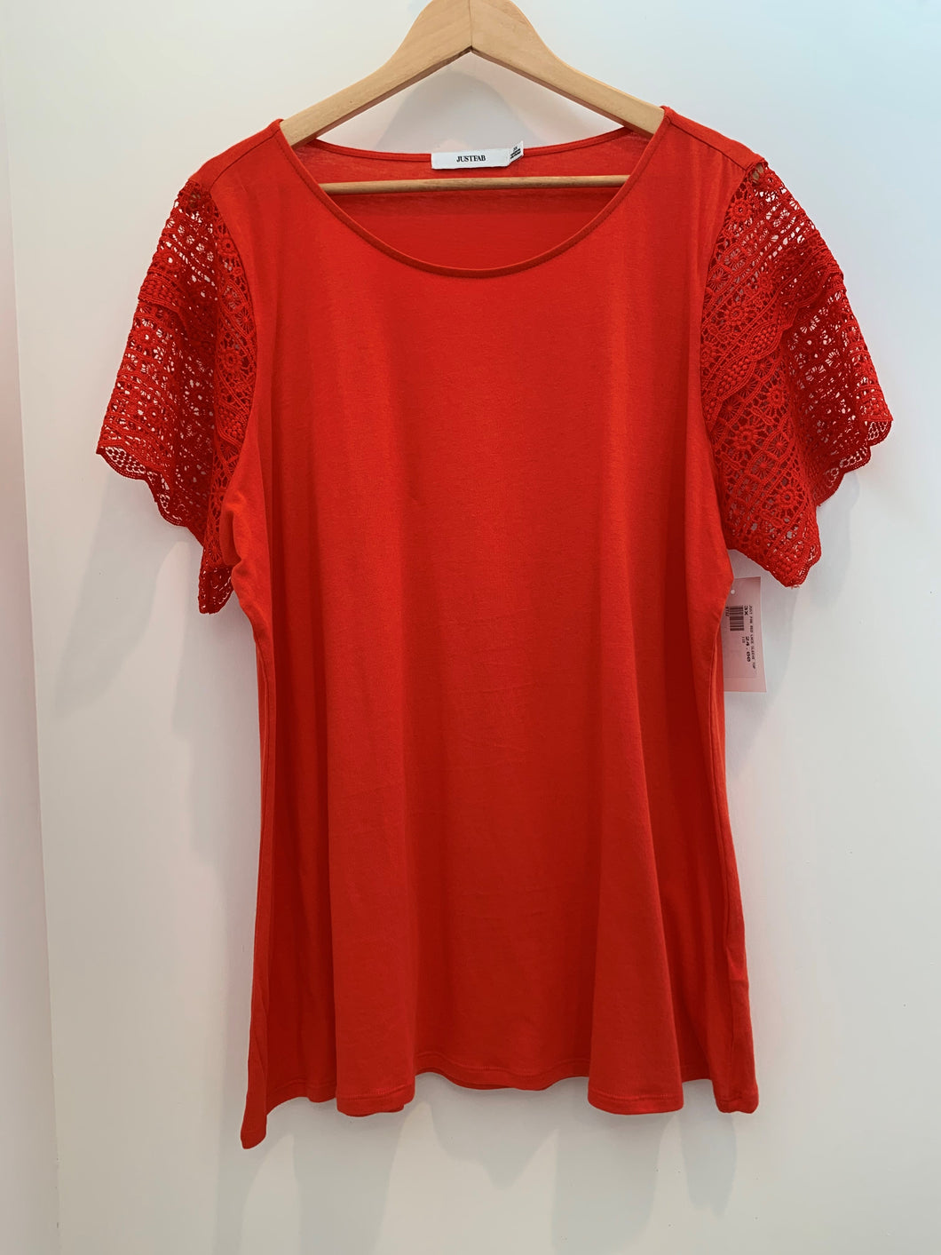 Just Fab Red Lace Sleeve Top - Size 3X