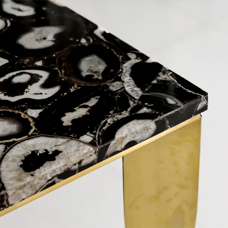 Black Agate Gemstone Dining Table