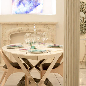 White Marble Dining Table Setting